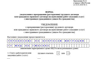 Уведомление фмс о расторжении договора образец