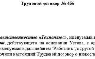 Образец трудового договора с продавцом консультантом