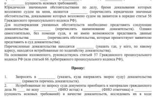 Ходатайство в суд о предоставлении документов
