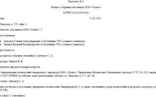 Образец протокола о смене директора 2020