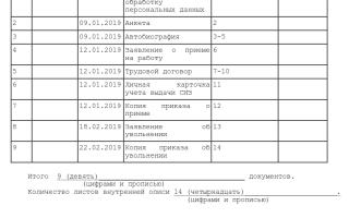 Опись трудовых договоров уволенных работников образец