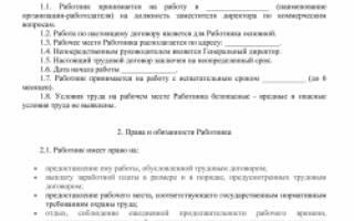 Образец трудового договора с заместителем директора 2020