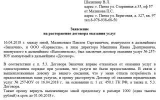 Письмо о расторжении договора охранных услуг образец