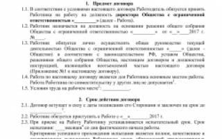Трудовой договор с генеральным директором ООО