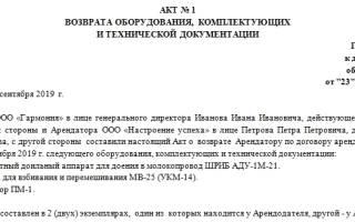 Акт возврата оборудования (приложение к договору подряда)