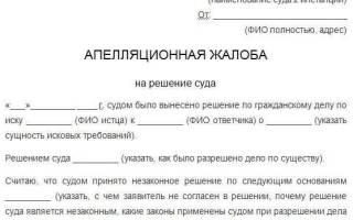 Куда подается апелляция на решение районного суда