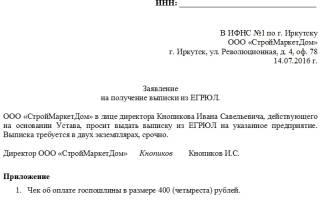 Заявление на выписку из ЕГРЮЛ в 2018 году